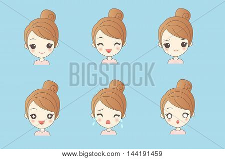 cartoon girl have a variety of facial expressionsl