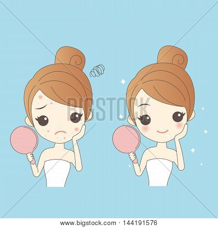 cartoon skin care woman with acne and take mirror check it beauty