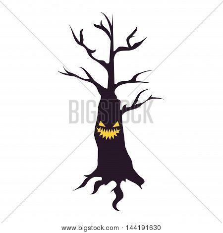 scary tree halloween season branch trunk vector illustration