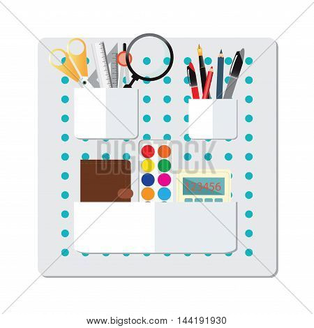 Box Full of office supplyPencils Pens Rulerbookcolorcalculator scissor dividers and magnifying glass isolated on white background.