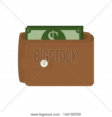 brown wallet with money bills economy and business vector illustration