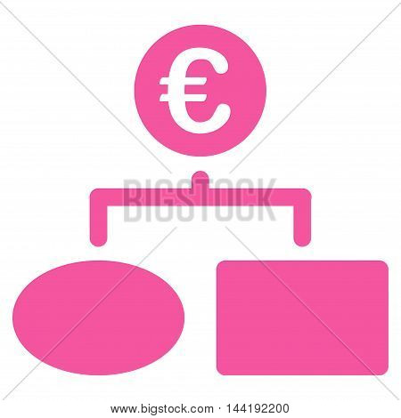 Euro Flow Chart icon. Vector style is flat iconic symbol with rounded angles, pink color, white background.