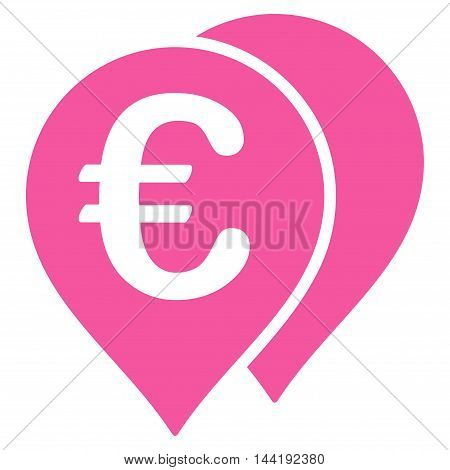 Euro Map Markers icon. Vector style is flat iconic symbol with rounded angles, pink color, white background.