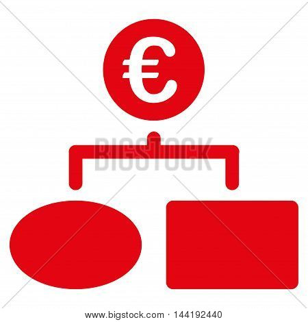 Euro Flow Chart icon. Vector style is flat iconic symbol with rounded angles, red color, white background.