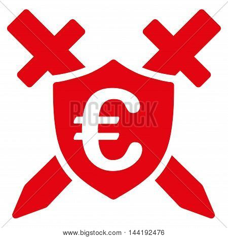 Euro Guard Shield icon. Vector style is flat iconic symbol with rounded angles, red color, white background.