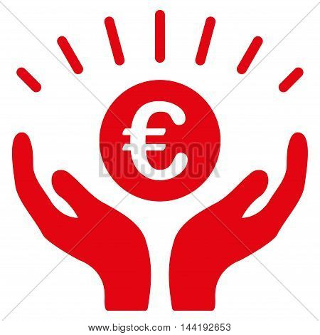 Euro Prosperity icon. Vector style is flat iconic symbol with rounded angles, red color, white background.