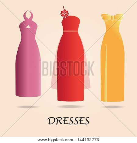 Dresses isolated on background Party dress or cocktail dresses Woman dress icon flat design Vector illustration.