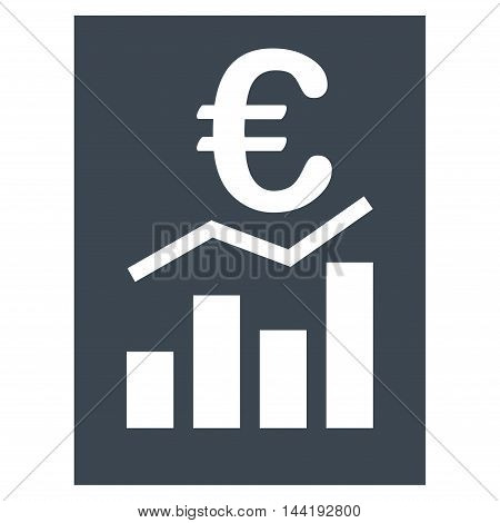 Euro Sale Report icon. Vector style is flat iconic symbol with rounded angles, smooth blue color, white background.