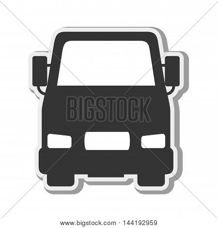 cargo truck transportation vehicle silhouette front view vector illustration