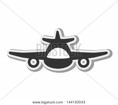 transport vehicle airplane flying front view silhouette  vector illustration