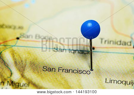San Francisco pinned on a map of Bolivia