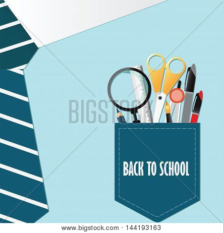 Shirt of Back to school conceptual with office supplyPencils Pens Rulerscissor dividers and magnifying glass vector illustration.