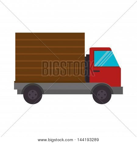 cargo truck transportation vehicle front side view vector illustration