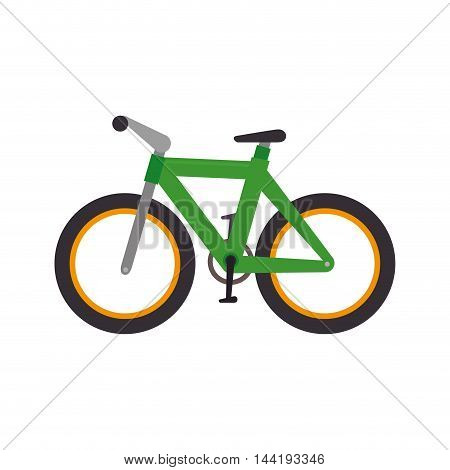 transport vehicle green bicycle bike healthy and fitness exercise vector illustration