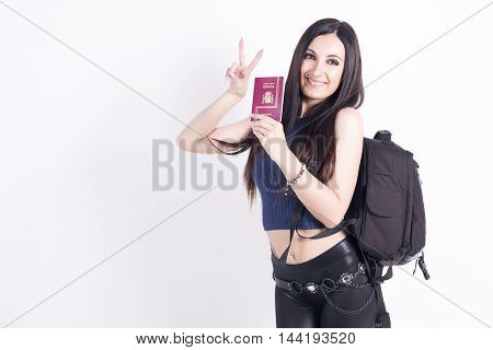 Happy Young Woman With A Backpack.