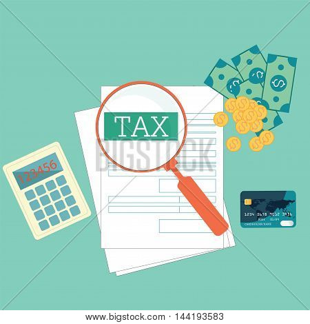 Top view of Magnifying glass searching tax form Modern concept for web banners websites Creative flat design vector illustration.