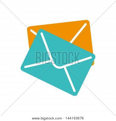 mail blue and yellow envelope letters correspondence vector illustration