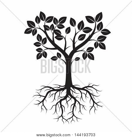 Black Tree. Vector Illustration. Nature and Garden.