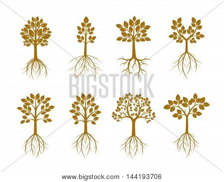 Set Golden Trees. Vector Illustration. Nature and Garden.