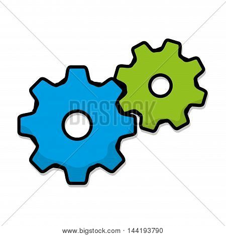 green and blue gears cog wheel mechanic equipment working vector illustration