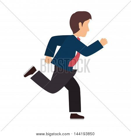 business man running wearing suit and tie cartoon vector illustration