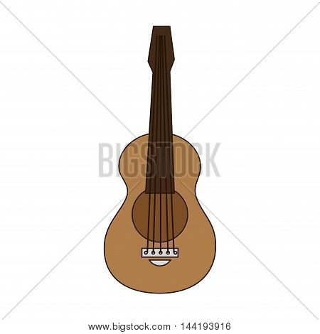 guitar brown musical instrument entertainment vector illustration