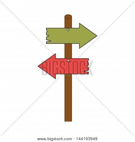 road sign wooden arrow direction way vector illustration