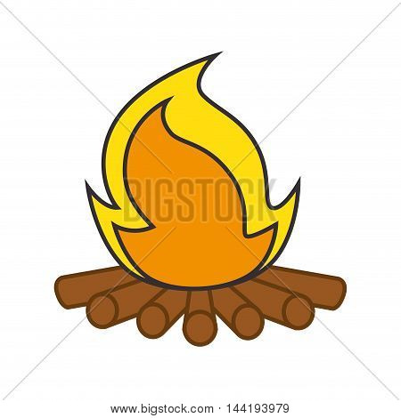 camping equipment campfire wood flame vector illustration