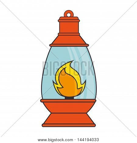 flame lamp lantern torch fire camping luminary vector illustration