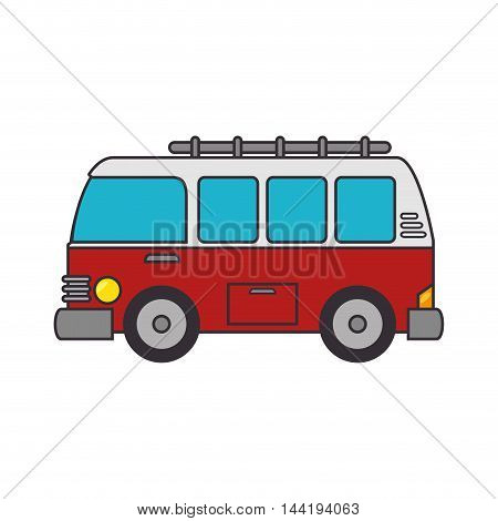 van camper retro vehicle vintage transport vector illustration
