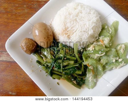 Eggs And Pork In Brown Sauce Frogs , Stir Fried Swamp Cabbage And Stir Fried Zucchini With Egg With