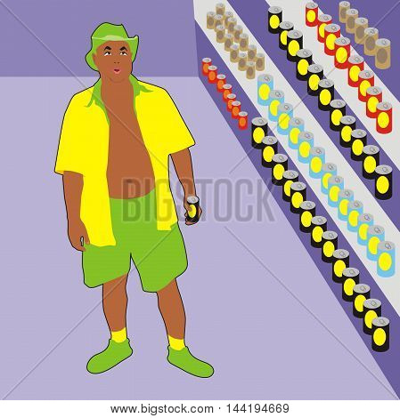 Vector  men shopping in a beer shop holiday man choosing beer cans