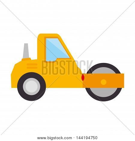 steamroller construction truck vehicle industry vector illustration