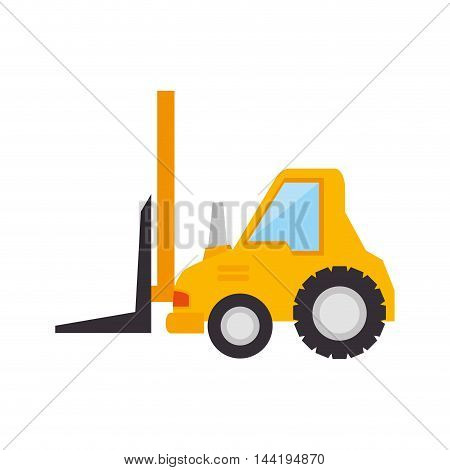 forklift truck construction yellow machinary vehicle vector illustration