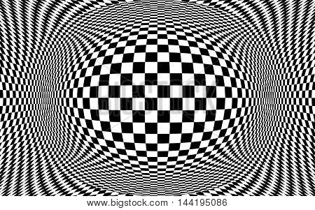 Black and white checker pattern optical illusion.  Illustration