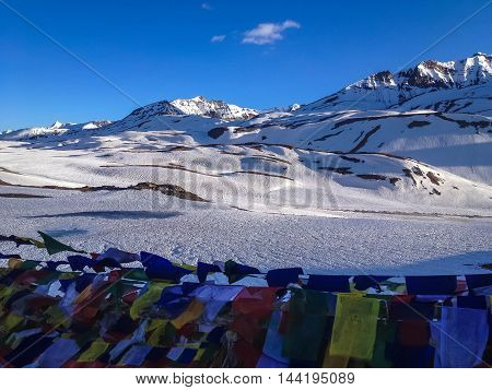 LEH LADAKH INDIA - JUL 5 : Prayer flags at Manali - Sarchu camp - Leh Ladakh highway road in India on July 5 2014