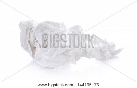 crumpled tissue paper on white background clean