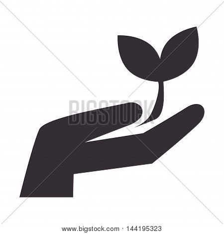 hand leaves ecology plant growing enviroment silhouette vector illustration