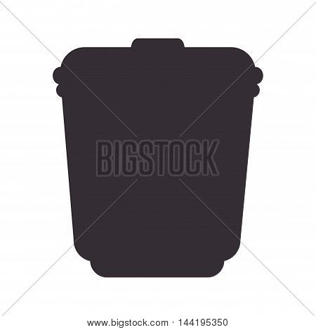 trash can container recycle bucket garbage delete silhouette vector illustration