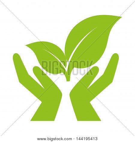hand leaves green plant ecology nature enviromental vector illustration