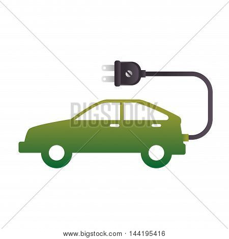 ecology electric car green vehicle plug enviromental vector illustration