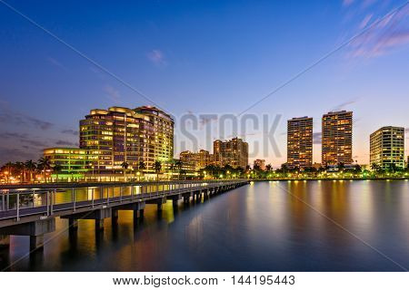 West Palm Beach, Florida, USA skyline on the Intracoastal Waterway.