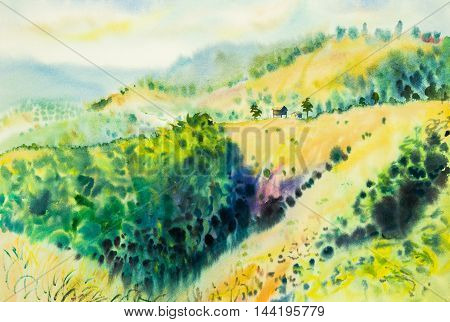 watercolor original landscape painting yellow color of mountain in sky and cloud background.