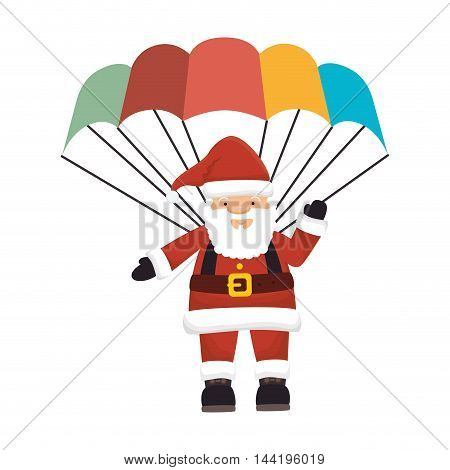 santa claus cartoon character flying parachute vector illustration