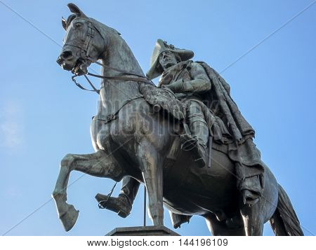 The equestrian statue of Frederick the Great is an outdoor sculpture in cast bronze at the east end of Unter den Linden in Berlin honoring King Frederick II of Prussia.