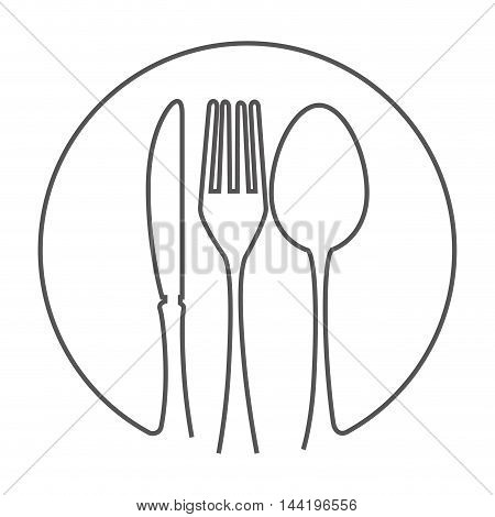 kitchen fork knife spoon cutlery utensil silverware food silhouette vector illustration