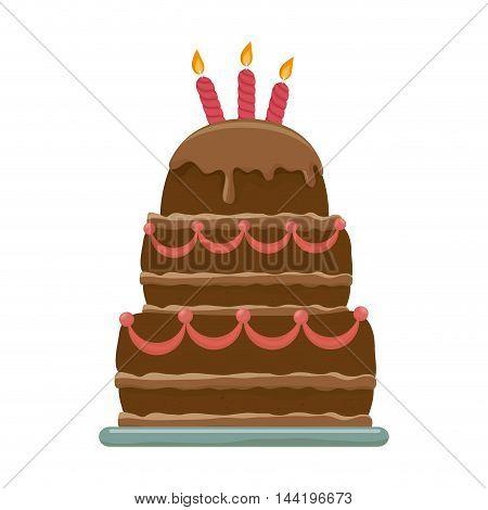 cake dessert food birthday candles pastry bakery sweet cream vector illustration