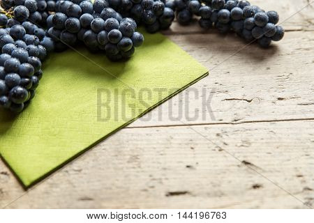 Lots Of Purple Grapes On Wooden Table, Copyspace