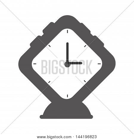 alarm clock square watch time classic  silhouette vector illustration