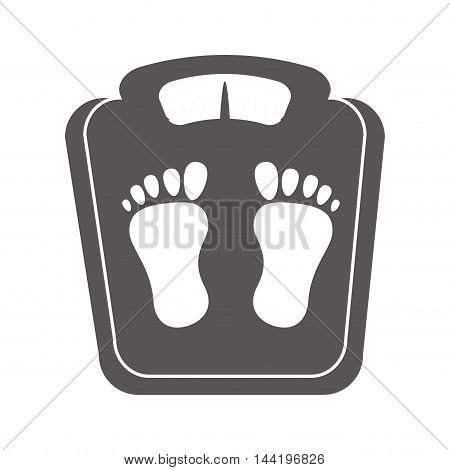 weight scale body control measure foot healthy lifestyle vector illustration